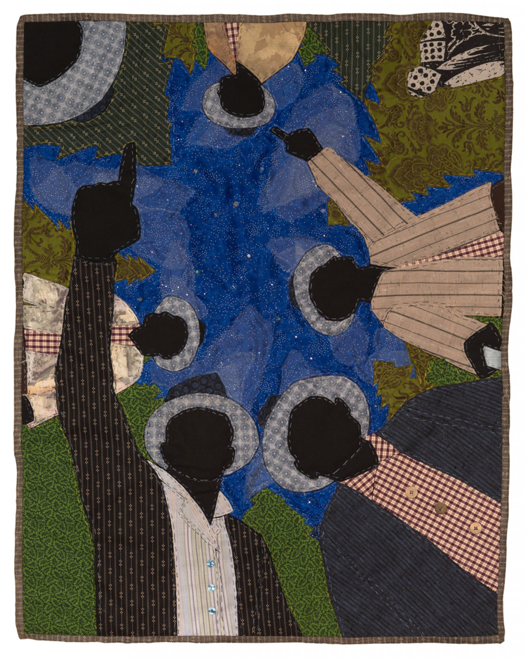 Stephen Towns, One Night at Cabin Pond, 2016.   #4 from the series Story Quilts. Natural and synthetic fabric, nylon tulle, polyester and cotton thread, Thermoweb, cotton/polyester blend batting, crystal glass beads, resin and metal buttons. 35 x 28 1/2 inches. Gift of Clair Zamoiski Segal in Honor of Christopher Bedford (BMA 2018.149).