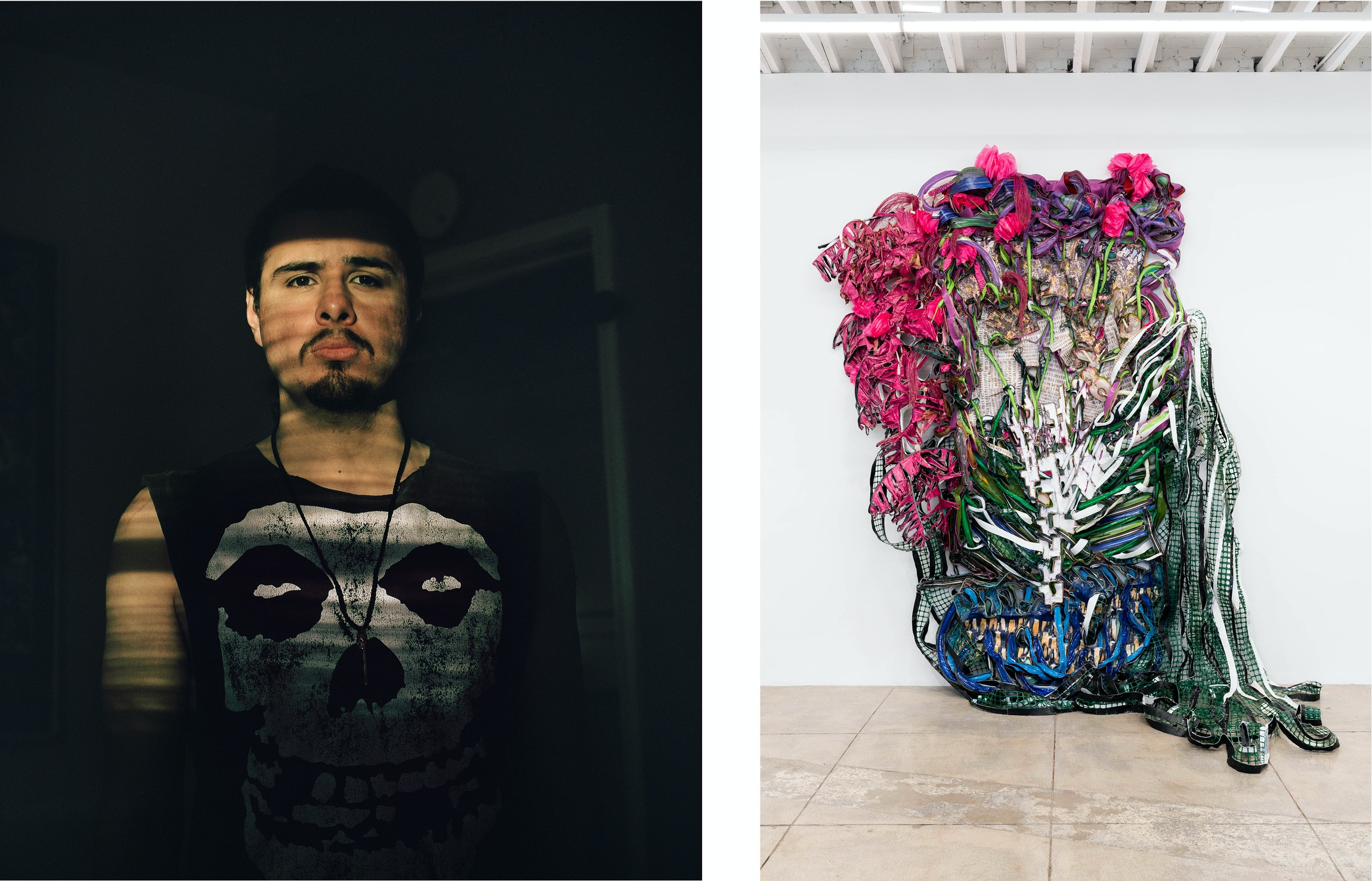 LEFT TO RIGHT: Star Montana, Frankie, 2019. Photo by Star Montana. Alicia Piller, Nature of a stately being. Outstretched arms, bursting with newborn stars., 2019. Mixed media. 135 x 107 x 53 inches. Photo by Ruben Diaz.