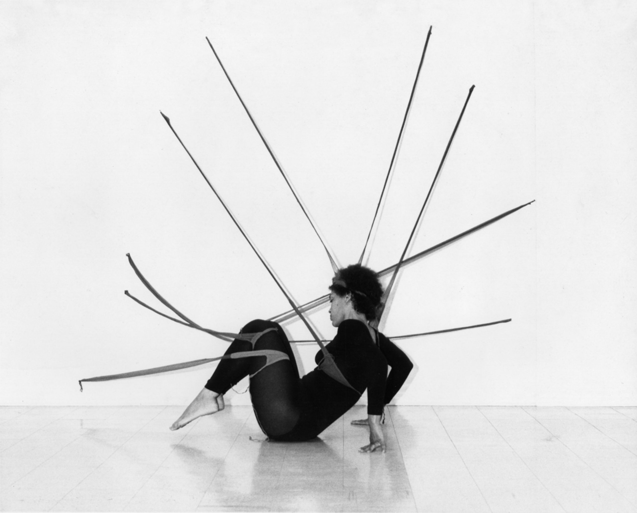 Senga Nengudi, Performance Piece, 1978. Black and white photograph. Photo by Harmon Outlaw. Courtesy of Lévy Gorvy Gallery, New York and Thomas Erben Gallery, New York.