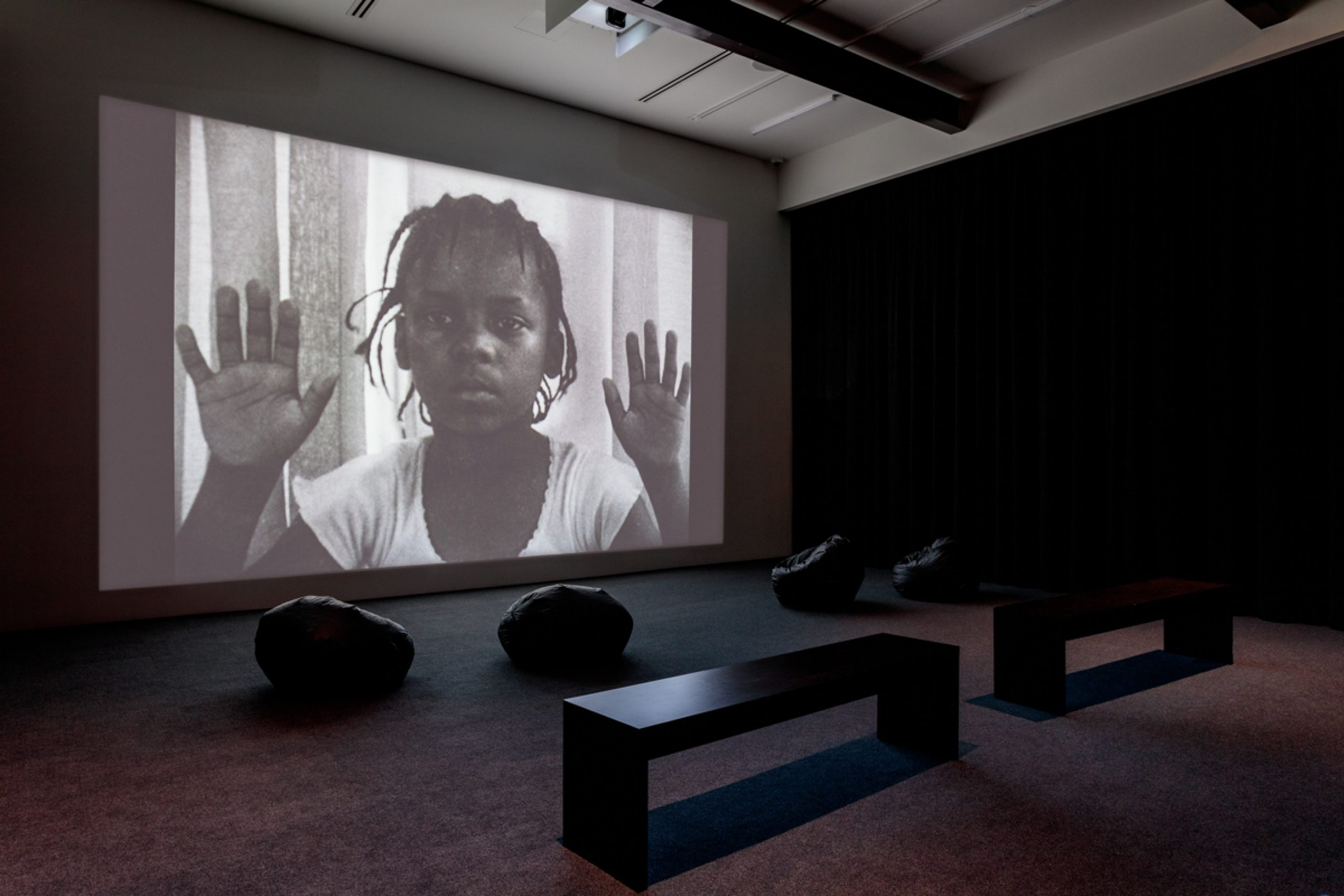 Installation view of Your Children Come Back to You (1979) by Alile Sharon Larkin in Time is Running Out of Time: Experimental Film and Video from the L.A. Rebellion and Today at Art + Practice. 2 February - 14 September 2019. Photo by Joshua White.