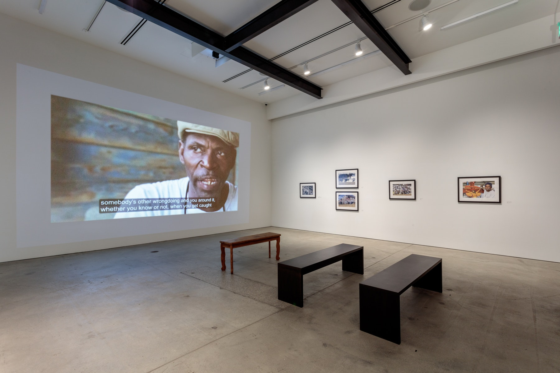 Installation view of Slavery, the Prison Industrial Complex: Photographs by Keith Calhoun and Chandra McCormick at Art + Practice. Los Angeles, California. 22 September 2018 - 5 January 2019. Photo by Joshua White.