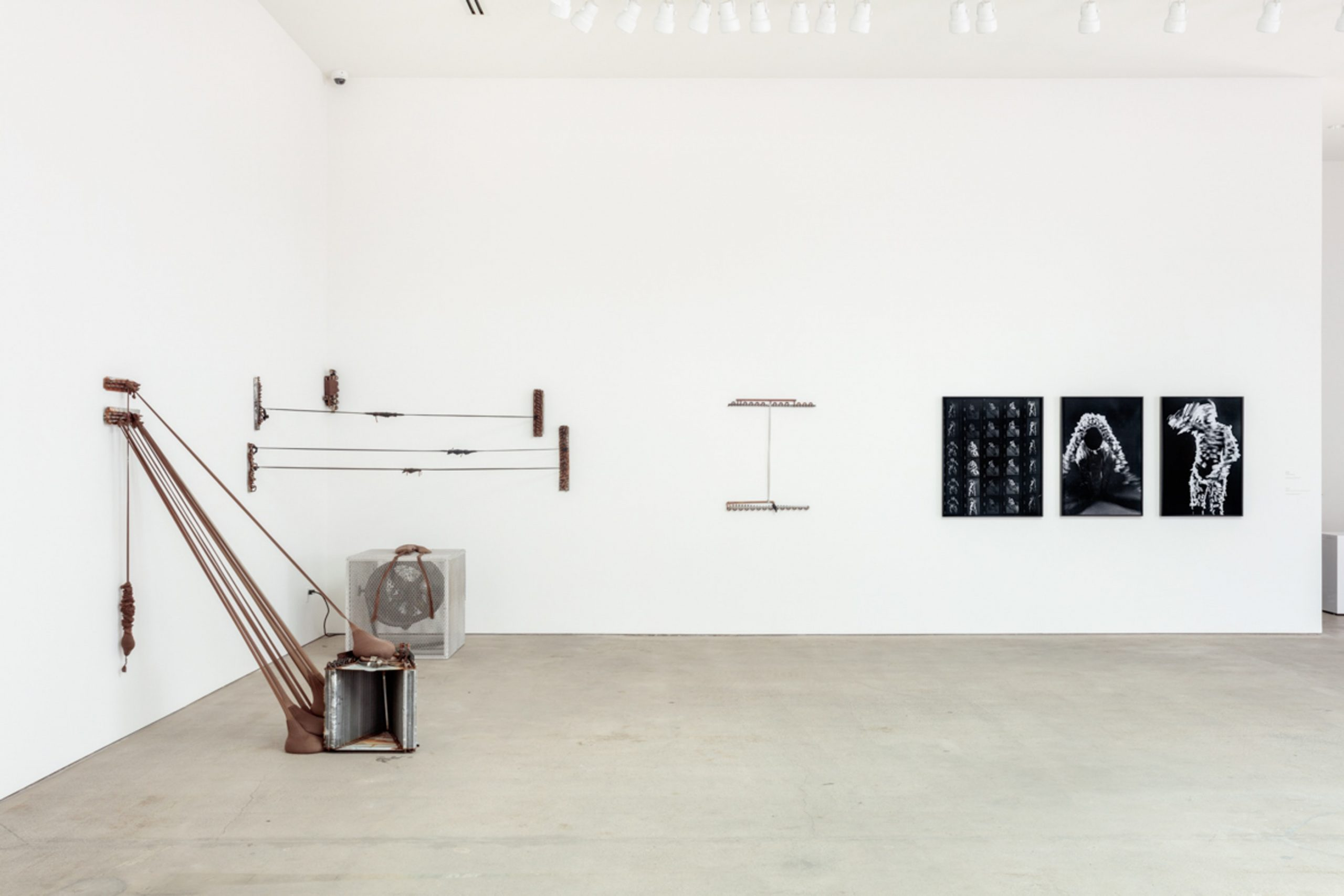 Installation view of Head Back and High: Senga Nengudi, Performance Objects (1976-2017) at Art + Practice. Leimert Park, Los Angeles. 23 June - 25 August 2018. Photo by Joshua White.