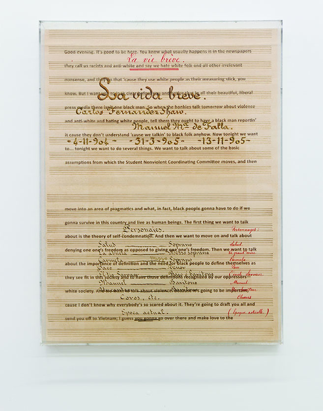 Charles Gaines, Prototype for Librettos: Manuel de Falla / Stokely Carmichael, Set 1, 2014.