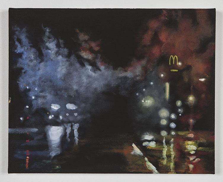 Sandy Rodriguez, Tear Gas No. 1 (Ferguson), 2014. Oil on canvas. 16 x 20 inches. Courtesy of the artist. Photo by Sean Shim-Boyle.
