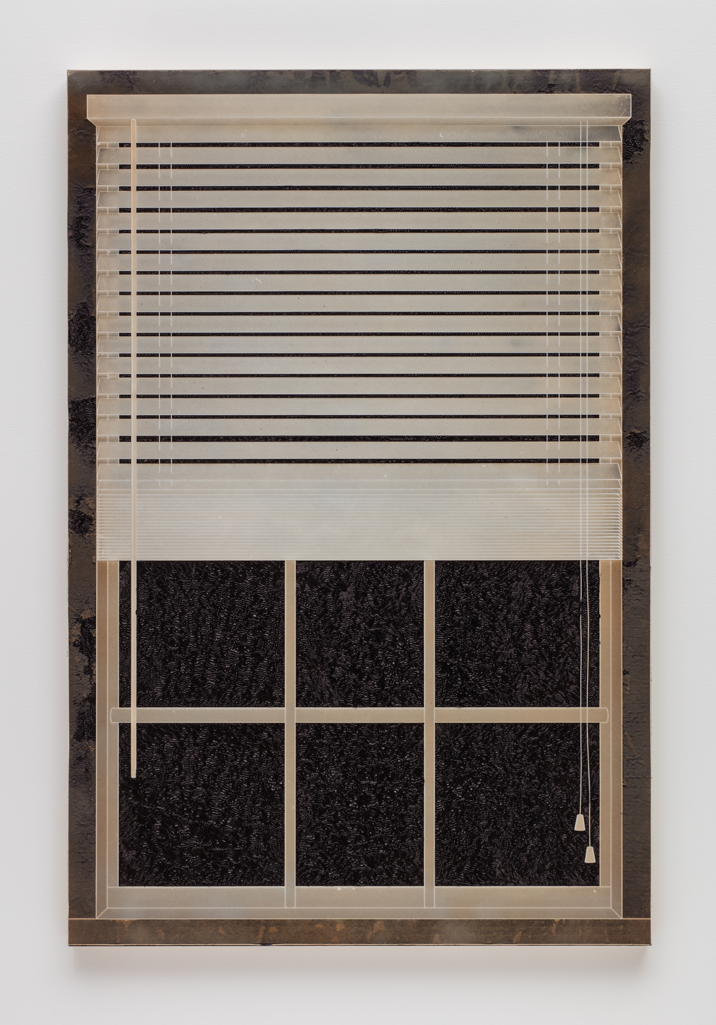 Analia Saban, Pleated Ink, Window with Blinds, 2017.  Laser-sculpted paper on ink on wood panel.  152.4 x 101.6 x 5.2 cm. Photo by Brian Forrest.