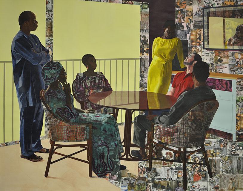 Njideka Akunyili Crosby,I Still Face You,2015。亚克力、木炭、彩色铅笔、拼贴画和纸上转印。 84 x 105 英寸。由艺术家和伦敦维多利亚米罗提供。