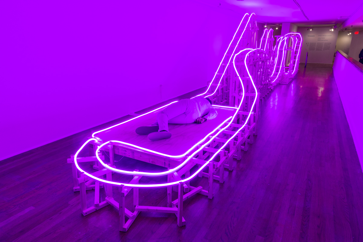 EJ Hill, A Monumental Offering of Potential Energy, 2016. The Studio Museum in Harlem, New York. Wood and LED neon flex. 492 × 108 × 85 inches. Performance duration: 512 hours over 3 ½ months. Photo by Adam Reich.