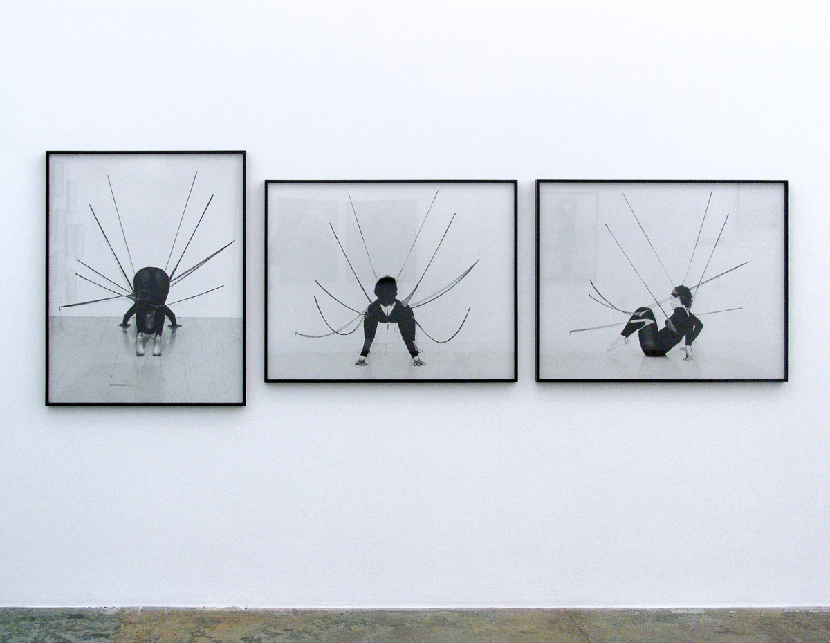 Senga Nengudi, Performance Piece, 1978. Black and white photographs. Framed: 41 × 32 1/2 × 1 3/4 in. -2 works; Framed: 32 1/2 × 41 × 1 3/4 in. -1 work. Courtesy of the artist; Thomas Erben Gallery, New York; and Lévy Gorvy, New York, London.