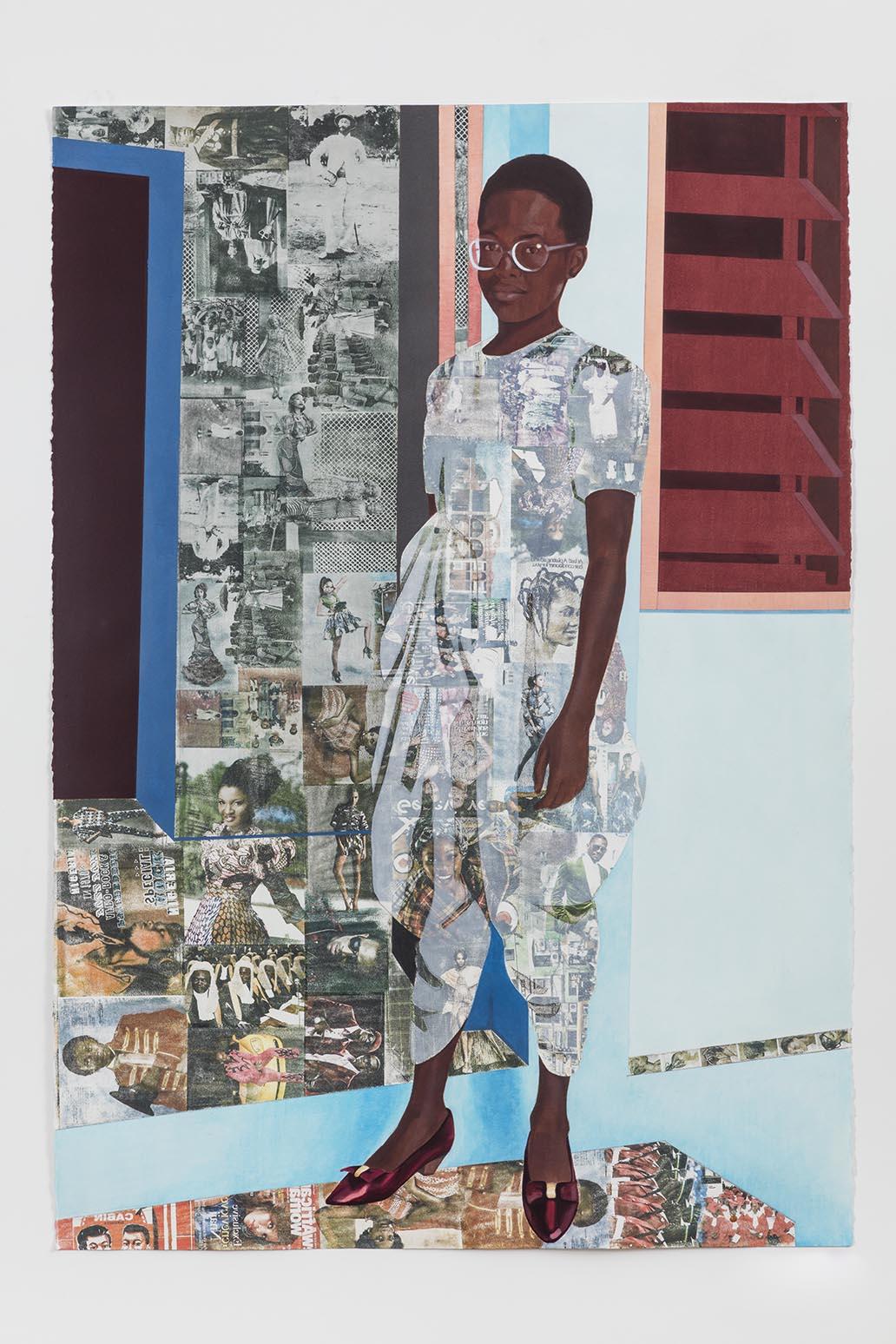 Njideka Akunyili Crosby, The Beautyful Ones no.1, 2015. 亚克力、粉彩、彩色铅笔和施乐纸上转印。 60 x 42 英寸。由艺术家和伦敦维多利亚米罗提供。杰森·威奇摄。