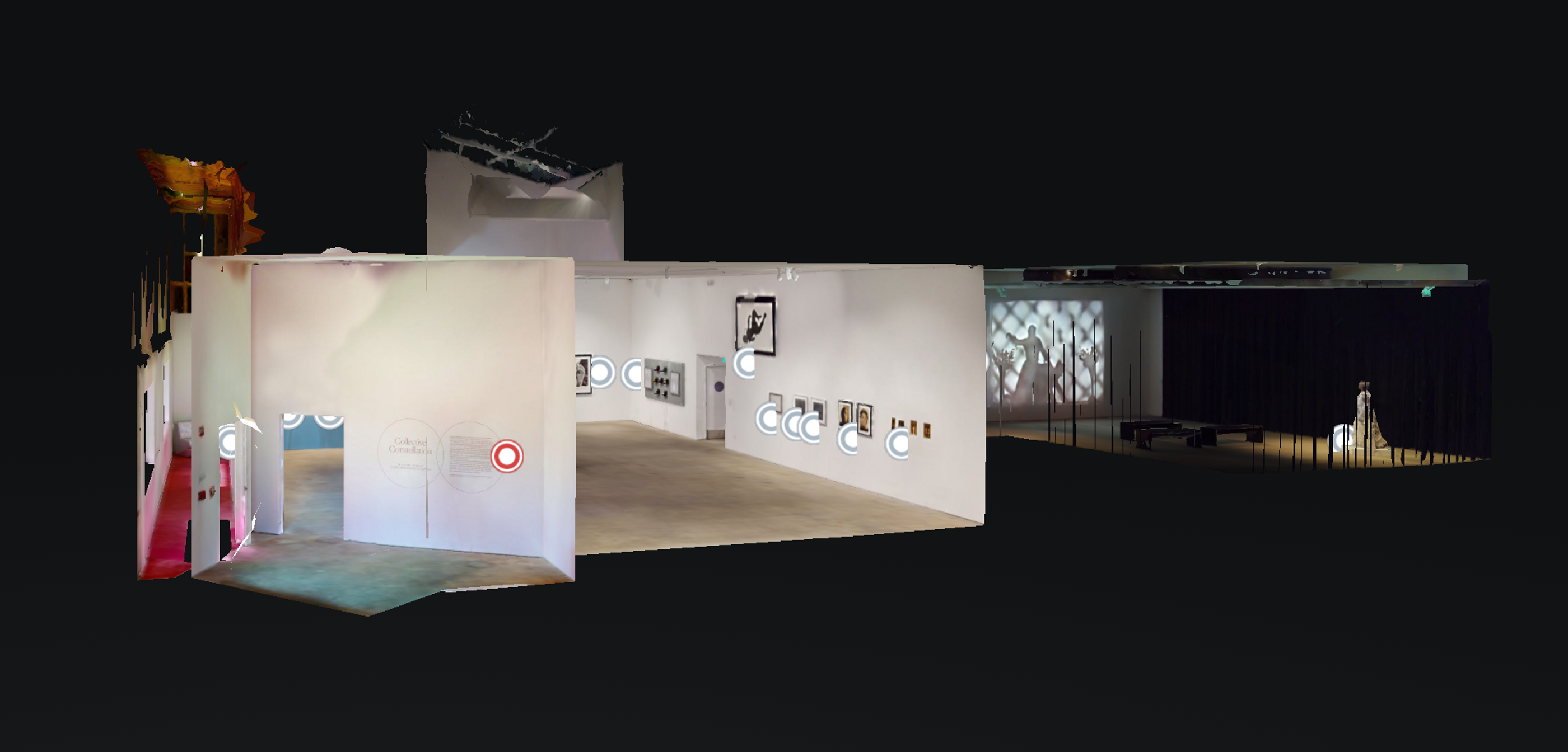 Screenshot of a dollhouse view of Art + Practice's new virtual tour of Collective Constellation: Selections from The Eileen Harris Norton Collection. VR captured by Joshua White Photography.