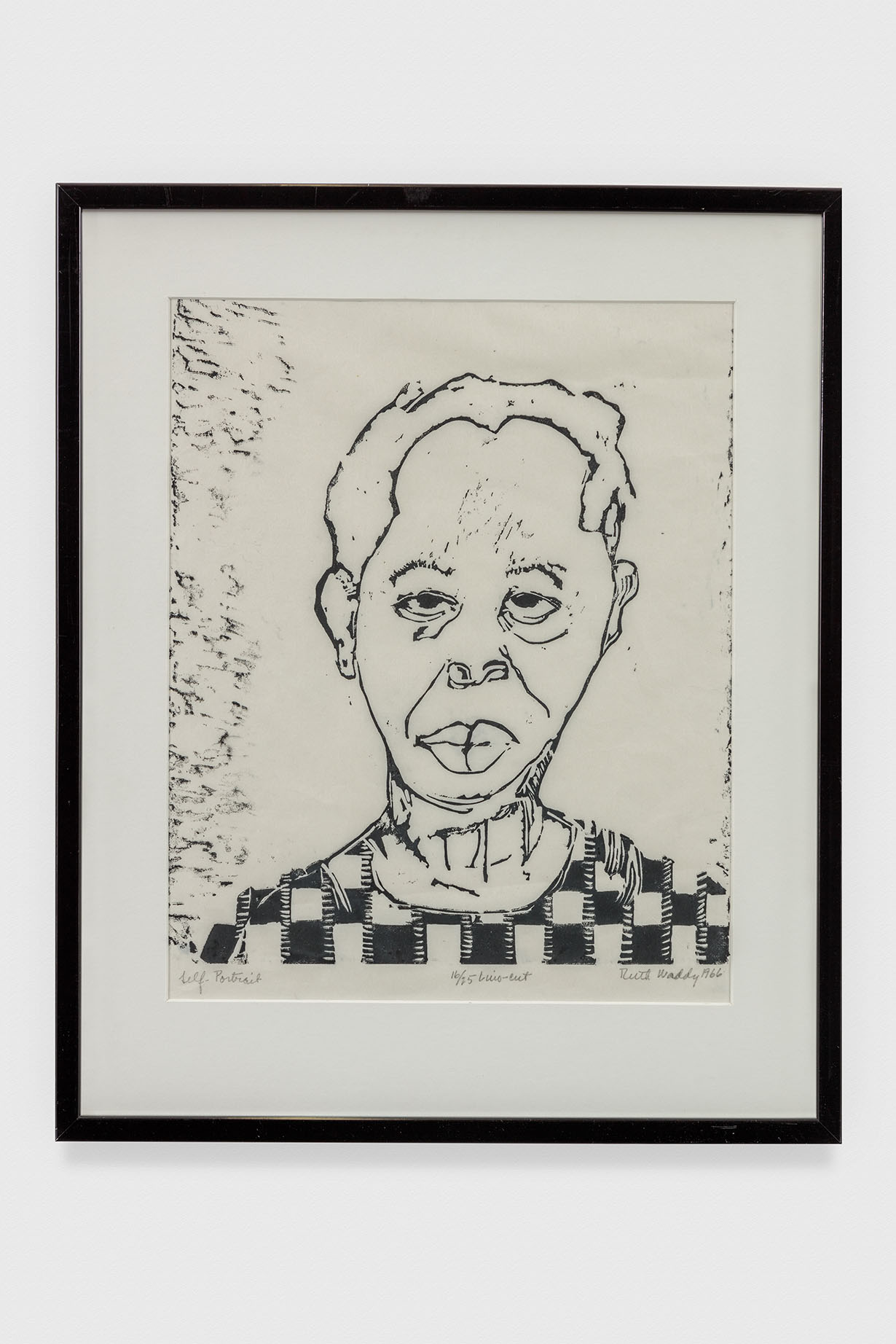 Ruth Waddy, Self Portrait, 1966. Lino-cut print. 23 x 19 3/4 in. © Ruth Waddy. Courtesy The Eileen Harris Norton Collection. Photo: Charles White.