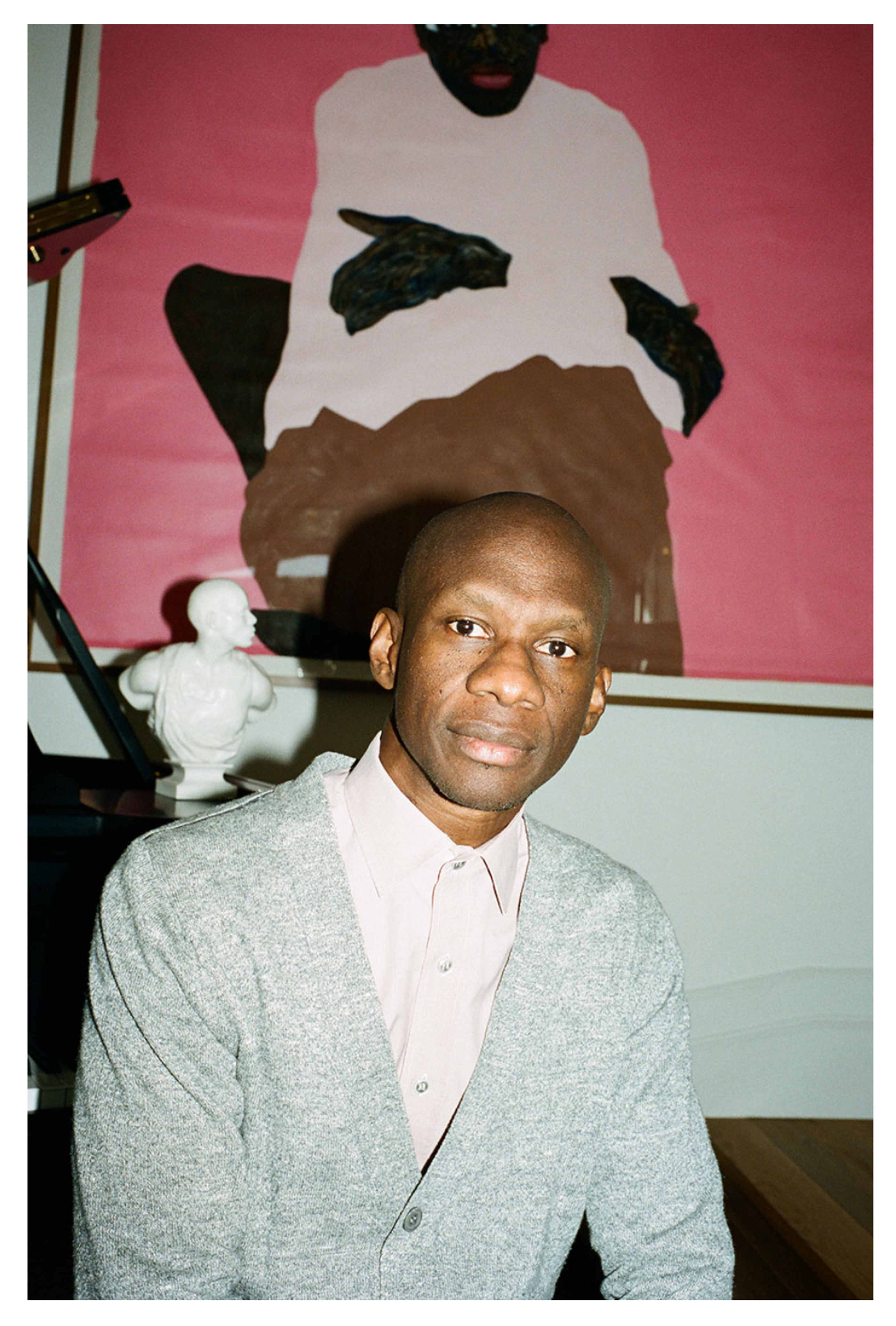 Troy Carter at home with Amoako Boafo, White Hat White Shade, 2019. Courtesy: Troy Carter; photograph: Max Farago.