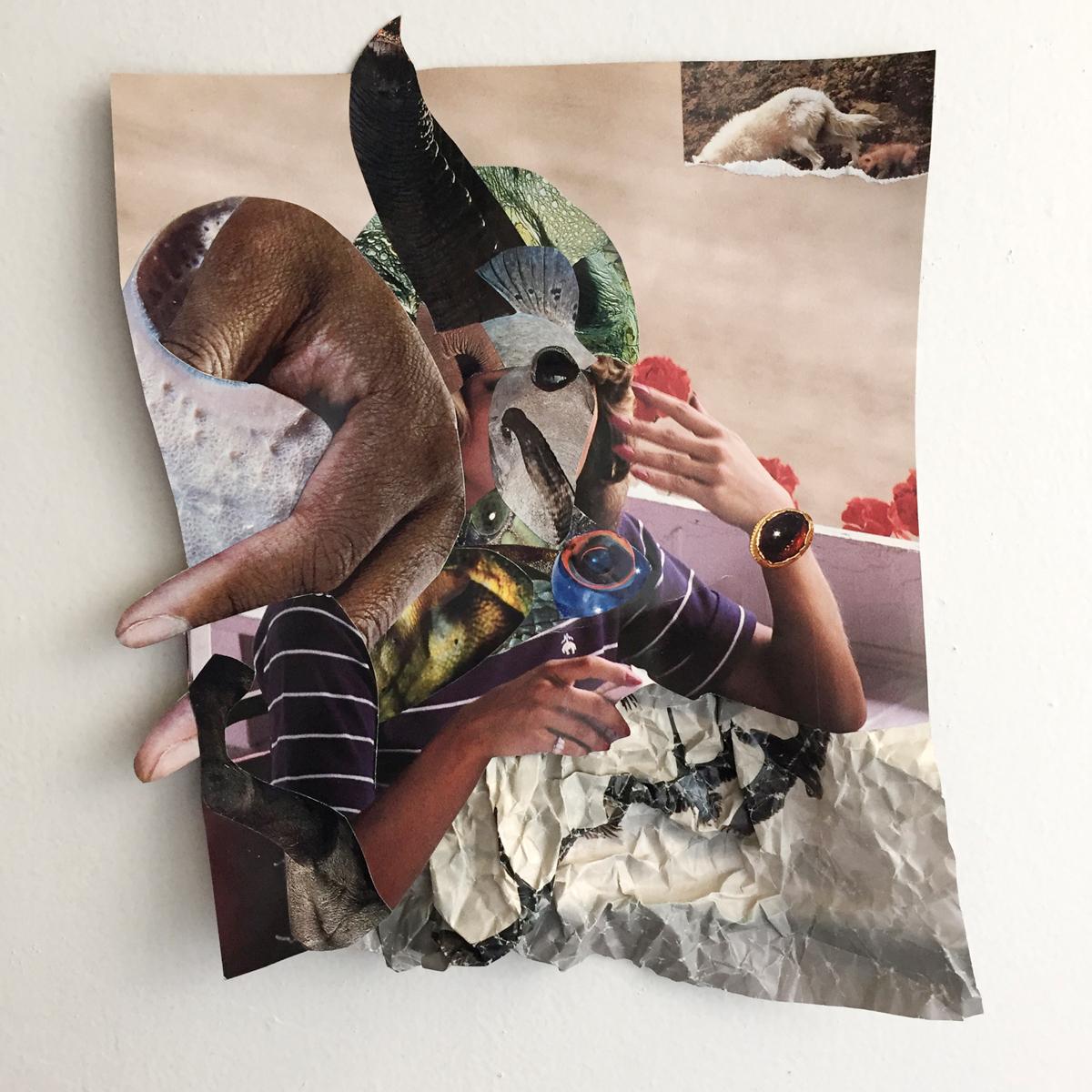 Suné Woods,Mutter,2016 年。9 x 12 英寸。混合媒体拼贴。