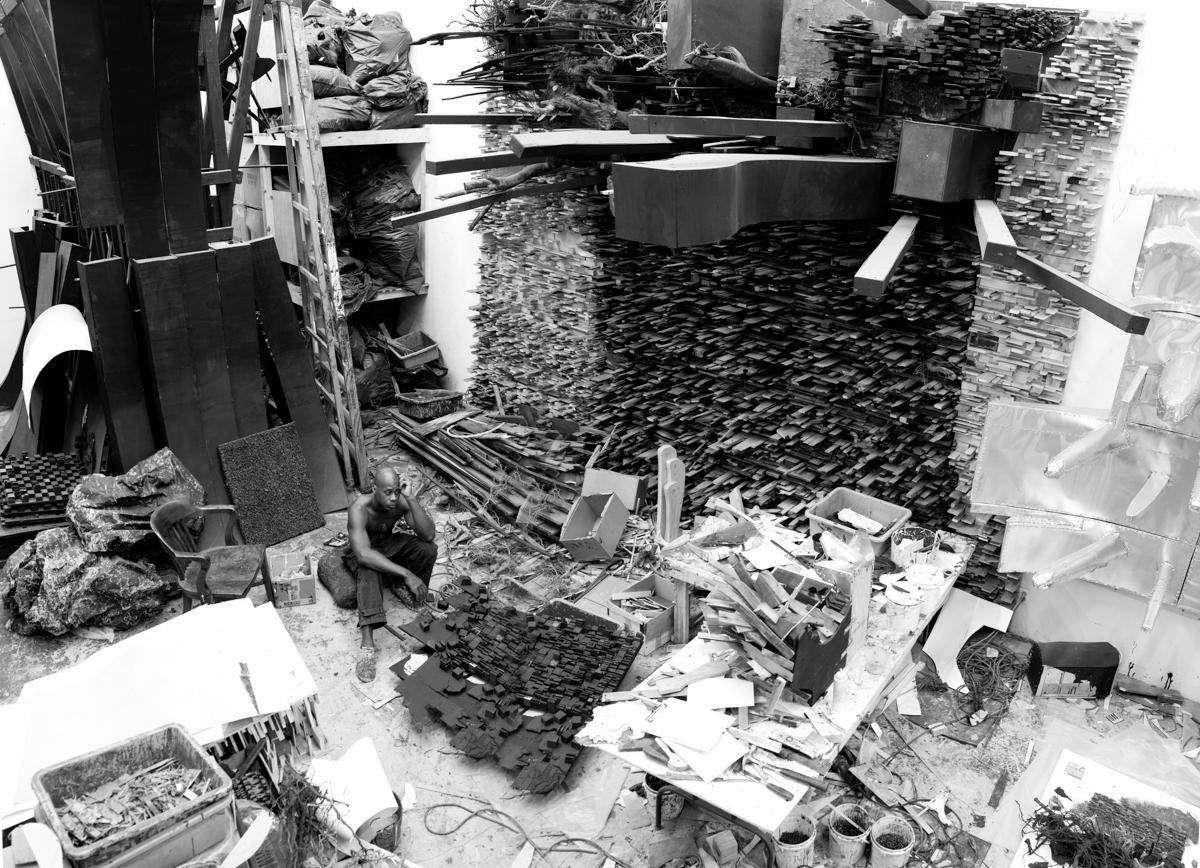 Leonardo Drew in his studio. Photo by John Berens.