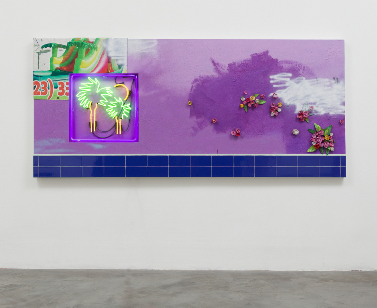 Patrick Martinez, Los Angeles Landscape (Echo Park), 2017. Ceramic, found banner tarp, ceramic tile on stucco and neon on panel.  48 × 108 inches. Courtesy of the artist and Charlie James Gallery, Los Angeles. Photo by Michael Underwood.