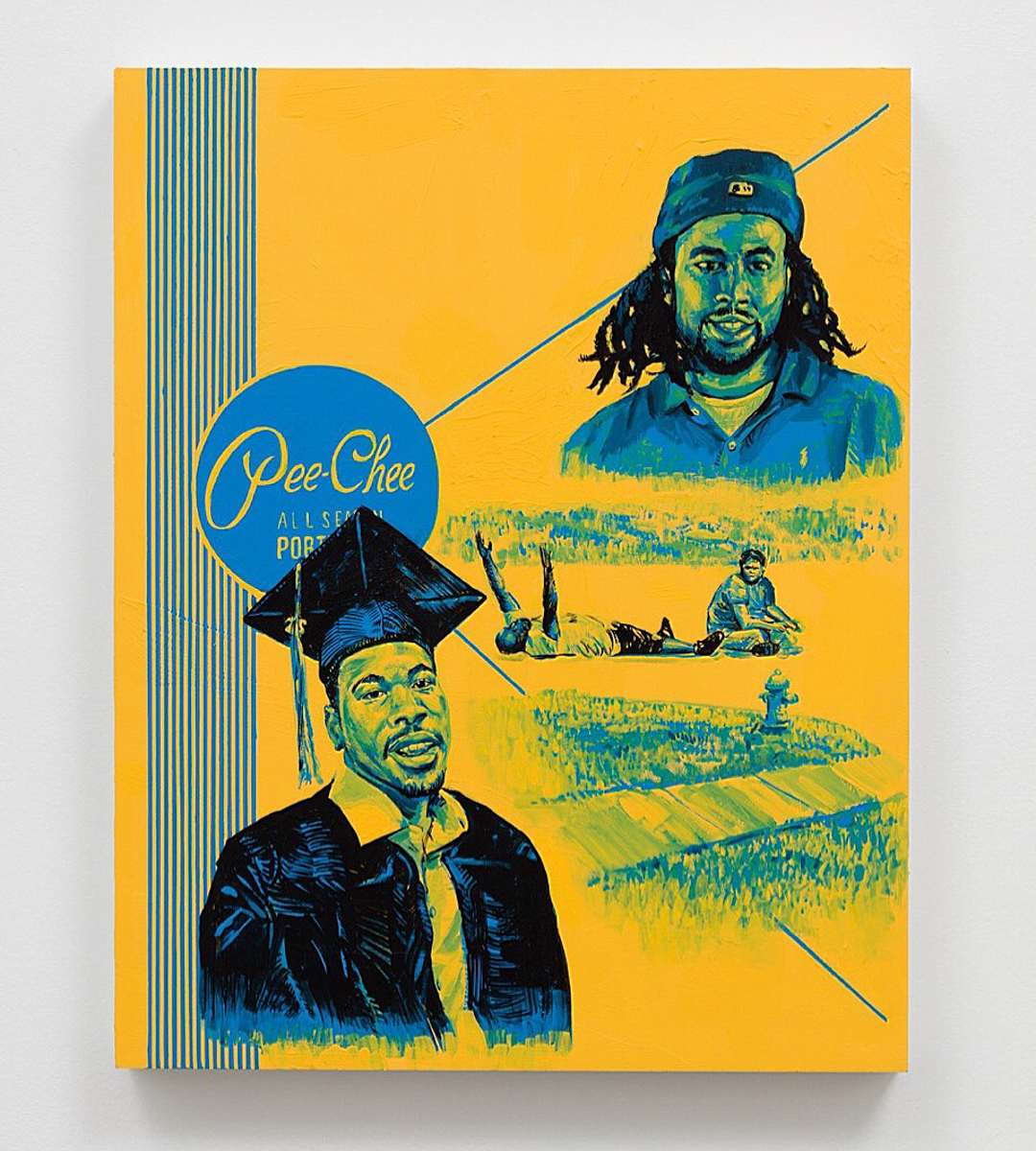 Patrick Martinez, Summer 16 Po-lice Misconduct Misprint, 2016.  Acrylic on panel. 30 × 23 inches. Courtesy of the artist and Charlie James Gallery, Los Angeles.  Photo by Michael Underwood.