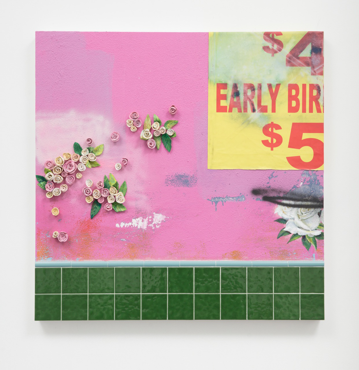 Patrick Martinez, Chinatown Flowers (early bird), 2017. Ceramic, found banner tarp, ceramic tile and mixed media on panel with wall stucco. 48 × 48 in. Courtesy of the artist and Charlie James Gallery, Los Angeles.  Photo by Michael Underwood.