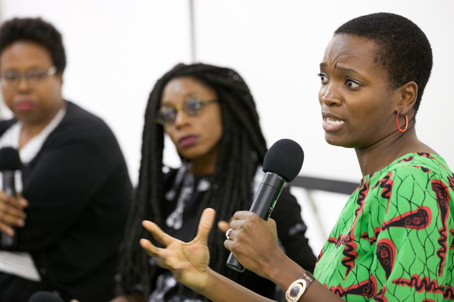In Conversation: Njideka Akunyili Crosby and Akosua Adoma Owusu Moderated by Jamillah James at Art + Practice, Los Angeles. September 24, 2015. Photo by Elon Schoenholz.